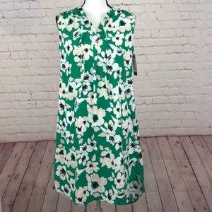 NWT Merona Green Floral Sleeveless Dress Medium